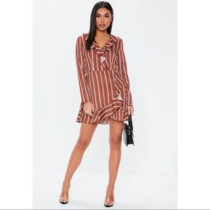 NWOT MISSGUIDED Stripe ruffle mini tea dress